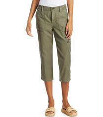 frame women's army cropped cargo pants - military - size 23 (00)