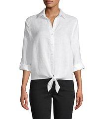 tie-waist linen shirt
