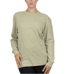 women's loose fit waffle knit thermal shirt