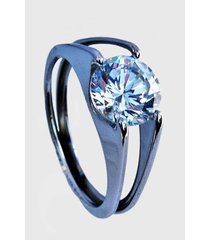 anillo acero compromiso plateado viva felicia
