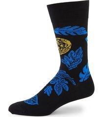 paul smith men's chilean scape print mid-calf socks - black