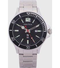 reloj plateado-negro nautica