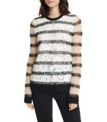 women's n degree21 lace front sheer stripe sweater, size 2 us - black