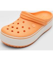 babuche crocs platform clog laranja/branco - kanui