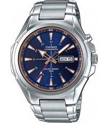 reloj analógico hombre casio mtp-e200d2a2 - plateado con azul