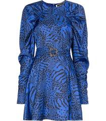rotate tara animal print mini dress - blue