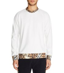 tallia mens leopard contrast crew neck pullover