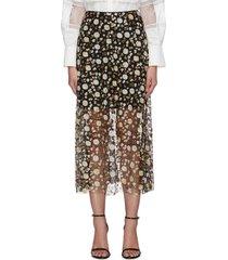 sequin embellished mesh midi skirt