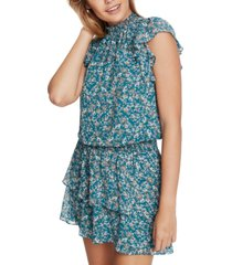 1.state tiered printed mini dress