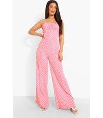 wide leg jumpsuit met stippen, pink