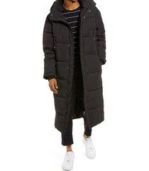 men's topman men's extra long hooded puffer jacket, size large - black