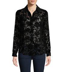 velvet floral mesh shirt