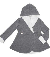 casaco leve forrado com capuz gingga baby e kids cinza claro - tricae