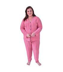 pijama plus size longo de liganete rosa listrado