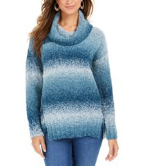 style & co petite striped cowl-neck sweater, created for macy's