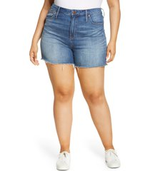 madewell high rise cuffed denim shorts, size 36 in glenoaks wash at nordstrom