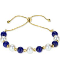 lapis lazuli (6mm) & cultured freshwater pearl (6mm) bolo bracelet in 14k gold (also in amethyst & manufactured turquoise)