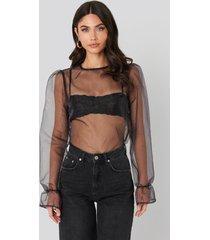na-kd party flounce sleeve organza blouse - black