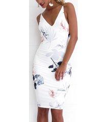 midi con cuello en v y cremallera con estampado floral al azar en blanco vestido