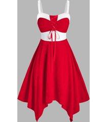 plus size velour lace up two tone dress