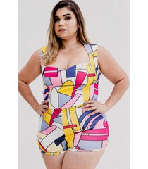 short kapsuli plus size hot pants estampado rosa/azul/amarelo