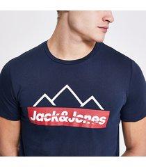 mens jack and jones navy printed t-shirt