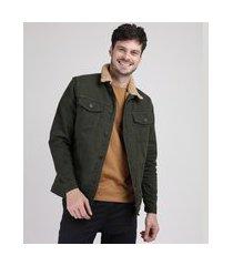 jaqueta de sarja trucker masculina com pelo verde militar