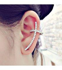 orecchini a polsini lunghi alla moda orecchini eleganti a forma di croce in argento con diamanti per le donne
