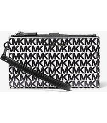 mk portafoglio adele per smartphone in pelle con logo - bianco ottico cangiante (bianco) - michael kors