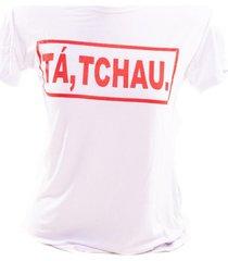 t-shirt femme adulto bad rose branca com estampado em vermelho