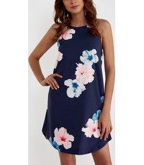 mini sin mangas con estampado floral al azar azul marino vestido