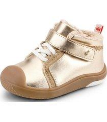 zapato prewalker piel de peluche dorado bibi