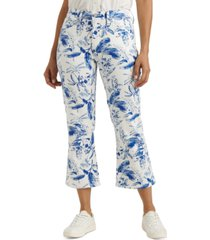 lucky brand high-rise mini-bootcut printed crop jeans