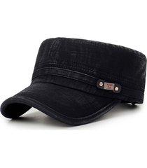 berretto kepì in cotone lavato regolabile con protezione radiazione solare