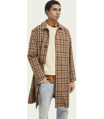 scotch & soda classic checked yarn-dyed trench coat