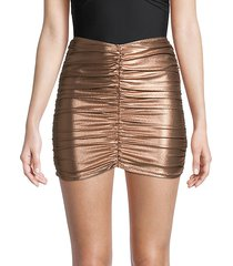ruched metallic coverup skirt