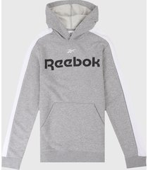 buzo gris-blanco reebok essentials linear logo