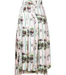 thom browne hunting print classic pleated skirt - pink