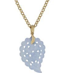 small carved denim chalcedony india pendant