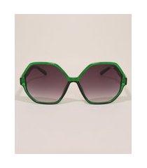 óculos de sol feminino geométrico yessica verde