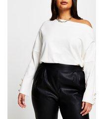 river island womens plus cream asymmetrical long sleeve top