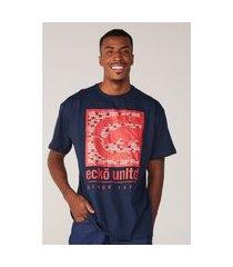 camiseta ecko plus size estampada azul marinho