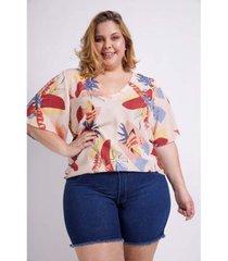 blusa estampada com detalhe costas plus size kauê plus size feminina - feminino