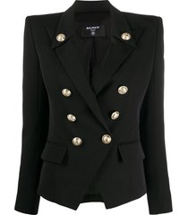 balmain structured double-breasted blazer - black