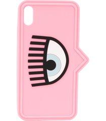 chiara ferragni eye print iphone xs case - pink