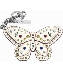 coach studded chalk leather butterfly large bag charm key chain 58996