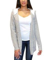 crave fame juniors' cozy knit sherpa trim cardigan