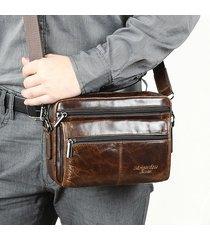 uomo vera pelle borsa solid leather wide olio crossbody in cera borsa