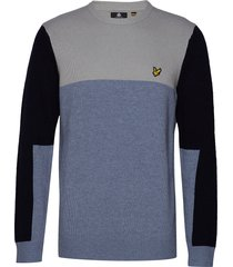 colourblock crew sweat-shirt trui blauw lyle & scott