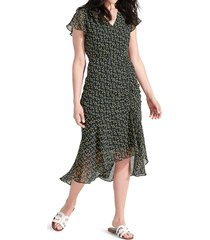 sam edelman women's floral-print side-ruched chiffon dress - black yellow - size 12